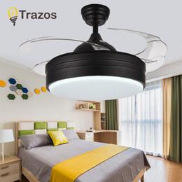 36d433636c9 TRAZOS Modern LED Ceiling Fans With Lights Bedroom Home Black Ceiling Light  Fan Lamp 220 Volt Fan Ventilador De Teto