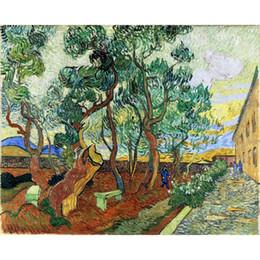 Aceite de lona de jardín online-Famoso Vincent Van Gogh Pinturas al óleo reproducción pintada a mano El jardín de St. Pauls Hospital en St. Remy Canvas art