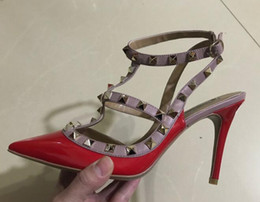 Wholesale Ladies Party Heels - 2017 Classic lady high heels shoes fashion Rivet strands of shoes Patent leather woman Rome sandals 9.5CM