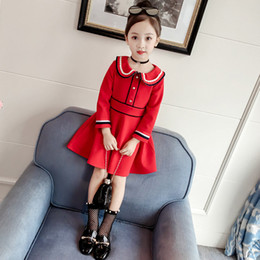65e7c7cc3b5 2-6 Years Girls long Sleeve Dress Peter pan Collar 2018 Autumn red dress  girl Cotton Casual Dress Winter Kids Dresses for Girls