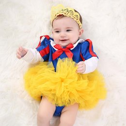 girls snow white tutu 2018 - Halloween White Snow princess baby girl clothes long sleeve Baby Rompers + Crown Headbands+ tutu skirts Infant Outfits Infant Clothing A2032