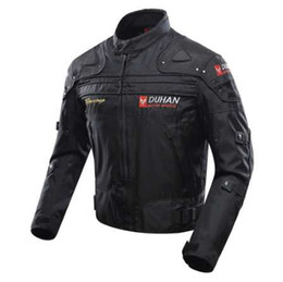 Wholesale Armor Motorcycle Clothing - DUHAN Blouson Moto Men's Motorcycle Motocross Off-Road Racing Jacket Body Armor+ Riding Pants Clothing Set Black Blue Red