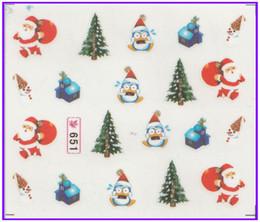 autocollants de noël de paillettes Promotion 6 PACK / LOT GLITTER WATER DECAL NAIL ART BAGUETTE DE Noël Xmas Christmas Santa Clause Deer SY651-656