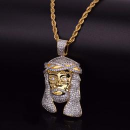 Wholesale Jesus Head Jewelry - Iced Out Zircon Jesus Head Pendant Necklace Bling Bling Hip Hop Jewelry Bling JESUS HIPHOP Necklace & Pendant For Men Women
