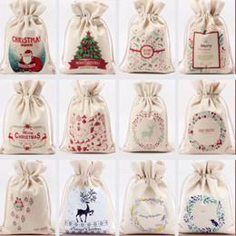 Упаковка для носков онлайн-Рождественский подарок мешок чистый хлопок холст шнурок носок сумки с Рождество Санта дизайн для подарков конфеты подарок пакет сумки WX9-745