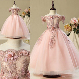 Wholesale Elegant Gowns For Little Girls - Elegant Real Image A Line Flower Girl Dresses For Vintage Wedding Party Blush Pink 3D Floral Lace Pretty Little Kids Formal Birthday Gowns
