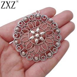 1e46c19f1aa3 ZXZ 5 unids Antique Sier Tone gran filigrana flor encantos colgantes para  el collar de la joyería que hace los resultados 55x51m