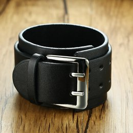 Men's Arm Warmers Reliable 1 Pair Fashion Mens Pu Leather Extra Wide Bangle Cuff Wristband Bracelet Belt With Three Buckle Clasps Arm Warmers For Costumes Apparel Accessories