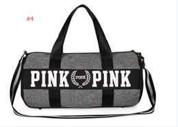 Wholesale Striped Tote Bags - Men Women Handbags Pink Letter Large Capacity Travel Duffle Striped Waterproof Beach Bag Shoulder Bag Exercise Gym Bags