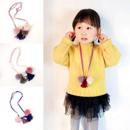 Wholesale Dresses Fringes - Baby Girls Tassel Necklace Pom Pom Ball Fringe Spike Fashion Jewelry For Sweater Dress Tshirt Kids Handmading Accessories