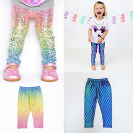 Wholesale Leggings Glossy - INS Boutique Unicorn Baby Girls Mermaid Rainbow Fish Scale Gradient Leggings tights Long Pants Casual Trousers Fashion Glossy Scale