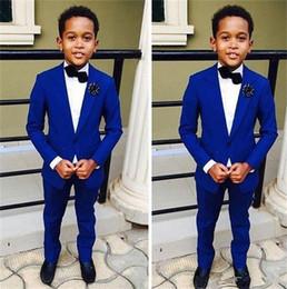 komplette hochzeit Rabatt Ein Knopf Hochwertige Kid Complete Designer Blue Boy Hochzeitsanzug Jungenkleidung Maßanfertigung (Jacke + Hose + Krawatte + Weste) m793