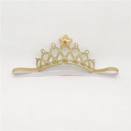 Wholesale Sparkly Tiaras - 10pcs  Lot Glitter Crown Headband For Girl Crystal And Star Children Sparkly Birthday Tiara Stretch Elastic Head Band Gold Silver