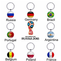 Wholesale Football Glasses - 2018 World Cup Football Keychains 32 Teams Glass Cabochon Soccer Car Keyholder Bag Accessories Russia 2018 Countries Flags Keyings Wholesale