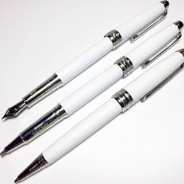 Wholesale Luxury White Pen - luxury 163 series mb ballpoint   rollerball   fountain pen classique white resin silver clip mont pen for Writing pens gift