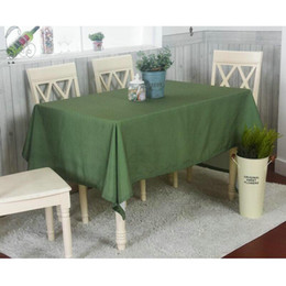 Wholesale Cotton Table Covers - Green Tablecloth Pastoral Style High Quality for Party Kitchen Hotel Home Dining White Point Printed Rectangle Table Cover
