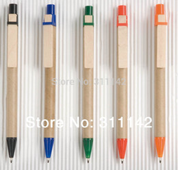 recycled pen wholesaler Coupons - Recycled Ballpoint Pen, kraftpaper paper Pen, pro-environment color paper pens wooden hook pen 1000pcs free shipping