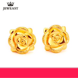 цельные золотые серьги 24k Скидка 24K Pure Gold Earring Real AU 999 Solid Gold Earrings Nice 3D Rose Upscale Trendy Classic Party Fine Jewelry Hot Sell New 2018