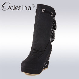 0d74b3d5fe50 short wedges heels Coupons - Odetina New Fashion Winter Thick Plush Wedge  Boots Women Crystal High