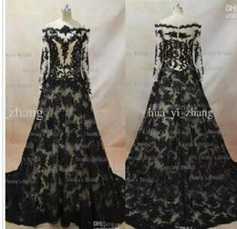 Реальные изображения 2017 кружева вечерние платья вдохновленный Zuhair Мурад линия прозрачный декольте с длинными рукавами черный над обнаженной вечерние платья от