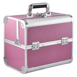 Красота ногтей поле онлайн-Large Space Beauty Make up Nail Tech Cosmetic Box Vanity Case Storage - Pink