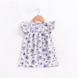 Wholesale american pageant dresses - 2018 New Style Toddler Infant Baby Girls Floral Printed Dress Summer Flying Sleeves Dress Princess Party Pageant Dresses