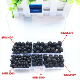 Wholesale Loose String Beads - 300 Pcs Natural Black Lava Stone Beads Round Loose Beads with Crystal String for DIY Bracelet and Necklace Free DHL D804Q