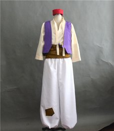 abito medievale donna viola Sconti Anime Aladdin Lamp Prince Costume Cosplay XS 3XL Costume adulto di Halloween per uomo Aladdin Costumes set completo