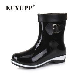 Wholesale Rubber Rain Boots Women Black - Wholesale- FASHION Women Short Rain Boots Low heel Waterproof Welly Boots Cotton Inside Rainboots Water Shoe Ankle Boots Size 36-40 DX210