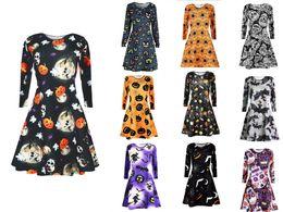 Argentina Nuevos vestidos de Chrismas Halloween Mujeres ropa cráneo de calabaza Mini vestido de manga larga Bodycon cráneo Skeleton Primavera Otoño Vestidos de fiesta S-2XL Suministro