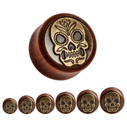 Wholesale red tunnel - 2015 hot sale new rose wood metal plugs ear gauges piercing tunnels body jewelry free shipping earrings 12-30mm color red and bronze