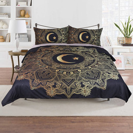 Stelle decorative per natale online-Luxury Bedding Bronzing Set 3 pz / set Star Moon Pattern Copripiumino Federe Biancheria Da Letto Forniture Regalo Decorativo Di Natale WX9-1027