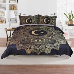 2019 lua de cama Conjuntos de Cama de Bronzeamento de luxo 3 pçs / set Estrela Lua Padrão Capa de Edredão Fronhas Suprimentos de Cama Para Casa de Natal Decorativo Presente WX9-1027 lua de cama barato