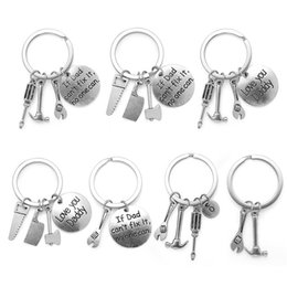 Wholesale Boys Hands - Fashion New Keyring Hand Tools Keychain Daddy Keyring Gift for Dad Fathers Day Keychain Hand Tools Bag Pendant Key ring