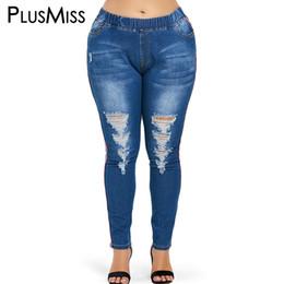d42eaf4a5c38 PlusMiss Plus Taille Taille Élastique Maigre Sexy Jeans Déchiré Femme  Détresse Denim Pants Femmes Grande Taille Femme Jeans Overiszed grand jean  femme ...
