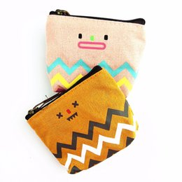 Wholesale Smile Wallet - Wholesale- M196 New Cute Lovely Women Purses Stripe Nostalgia Lovely Smile Zero Wallet Canvas Contracted Key Package Student Gift Wholesale