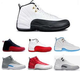 Wholesale wool w - Basketball Shoes 12 Wool Black Grey FLU game TAXI French blue gym red wolf Grey Playoff Gamma Blue GS Barons Sports Shoes