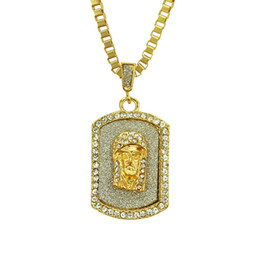 gold dog tags wholesale Promo Codes - Bling Crystal Hip Hop Jesus Head Pendant Necklace Gold Color Jesus Face Religious Dog Tag Pendant Crystal Jesus Piece Jewelry