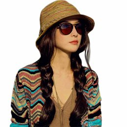 Wholesale Summer Womens Foldable Hats - 2017 Summer Sun Fashion Womens Straw Hats Color Striped Beach Hat Foldable elegant ladies Hat Women's # Vestidos17