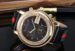 Wholesale Watch Leather Bracelet - Luxury Brand mens watch 2018 male clock Calendar aaa watches leather steel gold Bracelet wristwatch Men watches relogios masculinos