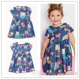 Wholesale American Girl Dolls Clothes - 2016 Summer Children short Sleeve Girls Doll Collar Cartoon Picture Dresses Princess Child Dresses Clothing Free shipping E1140