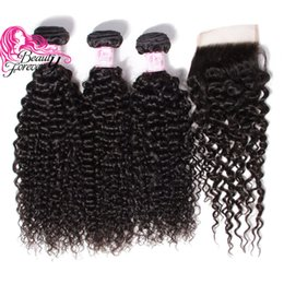 Wholesale Pcs Parts - Beauty Forever Malaysian Curly Hair 3 Bundles With Closure Free Part Natural Color 1B Unprocessed Virgin Human Hair Weave Free Shipping 4 PC