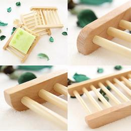 Caja de jabón gratis online-Jabonera de madera Bandeja de jabón de madera Caja de almacenamiento de la bandeja del estante de jabón Contenedor para baño Ducha Placa de baño Envío gratis
