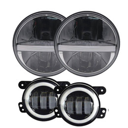 Wholesale led running lights inch - 7 Inch led headlights fog lights 36W High Low beam Daytime running lights Amber turn signal 4inch 3owfog light for Jeep Wran