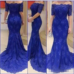 Wholesale Black Beauty Classic - 2017 Royal Blue Lace Evening Dresses Gowns Off The Shoulder Mermaid Beauty Neck Elegant Fashion Mother Of The Bride Dress
