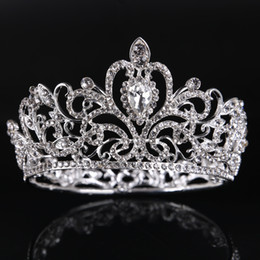Wholesale Trendy Round Glasses - Crown of the bride Star special crown bridal jewelry silver full circle rhinestone princess crown wedding dress accessories hair accessories