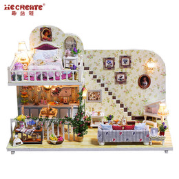 Wholesale Christmas House Model - Christmas Gifts Miniature DIY Doll House Model Building Kits casa de boneca Doll House Furniture Toys Amsterdam in the village