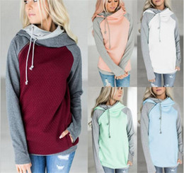 Wholesale Double Hoodie Woman - Double Color Zipper Stitching Hoodies Women Long Sleeve Patchwork Pullover Winter Women Jacket Sweatshirts Jumper tops M125