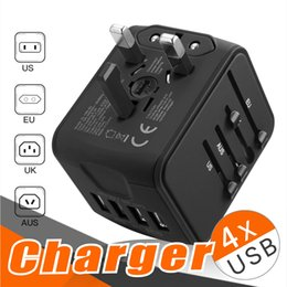 Wholesale blackberry international charger - Universal International Travel Power Adapter W Smart High Speed 2.4A 4 USB Wall Charger Worldwide AC Outlet Plugs Adapters for Eu UK US AU