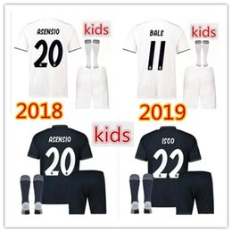 f630a2a55 Real Madrid soccer Jersey Kids Kit+SOCKS 18 19 home white football shirt  RAMOS BALE ISCO KROOS Child Soccer Shirts uniform jersey+shorts